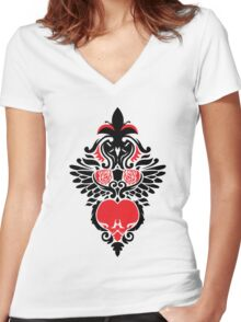 Rose, Skull and Wings Demask Women's Fitted V-Neck T-Shirt