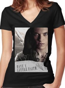 Have a little faith Women's Fitted V-Neck T-Shirt