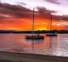 Yachts at Sunset Panorama by MikeAndrew