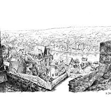 The ramparts of Terrasson - Black ink drawing by nicolasjolly