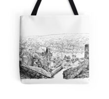 The ramparts of Terrasson - Black ink drawing Tote Bag
