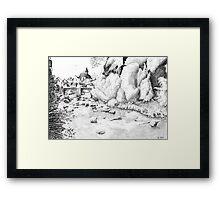 Treignac - Black ink drawing Framed Print