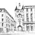 La grosse Cloche - Bordeaux - black ink drawing by nicolasjolly