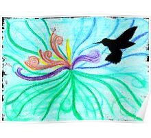 Watercolour / Negative Space Sunbird (Black) Poster