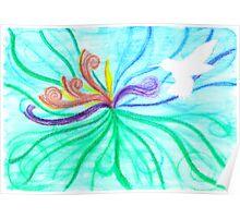 Watercolour / Negative Space Sunbird (White) Poster