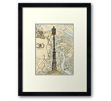 Old Savannah Harbor Lighthouse GA Nautical Chart Cathy Peek Framed Print