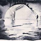 Under the bridge - Paris - Watercolor by nicolasjolly