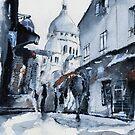 Montmartre sous la neige - Watercolor by nicolasjolly