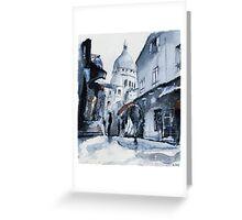 Montmartre sous la neige - Watercolor Greeting Card