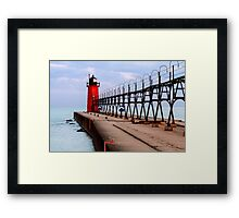 South Haven Lighthouse with Catwalk Framed Print