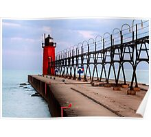 South Haven Lighthouse with Catwalk Poster