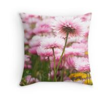 Paper petals - Pink everlastings. Throw Pillow