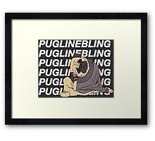Pugline Bling Framed Print