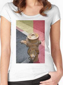 sunset fire hydrant Women's Fitted Scoop T-Shirt