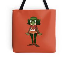 Fall Frog School Girl Tote Bag