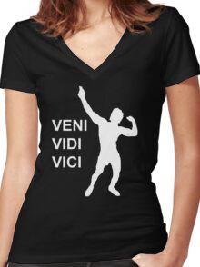 Zyzz - Veni Vidi Vici (White) Women's Fitted V-Neck T-Shirt