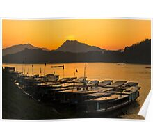 Longboats on the Mekong at Sunset Poster