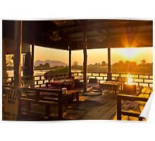 Chilling over the Mekong at Sunset Poster