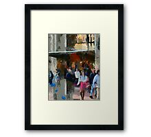 People Exiting Store in San Francisco Framed Print