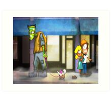 frankenstein: dog walker Art Print