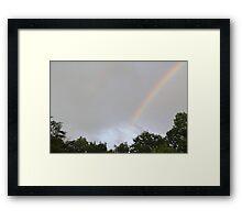 Double Rainbow with Blue Sky behind Framed Print