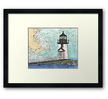 Brant Pt Lighthouse MA Nautical Chart Cathy Peek Framed Print