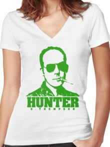 Mr Hunter S. Thompson (Green print) Women's Fitted V-Neck T-Shirt