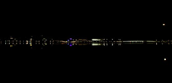 Lights in the distance  Lake Burley Griffin Canberra by Kym Bradley