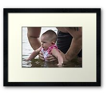 In Daddy's Strong Hands Framed Print
