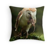 Barn Owl and Mouse Throw Pillow