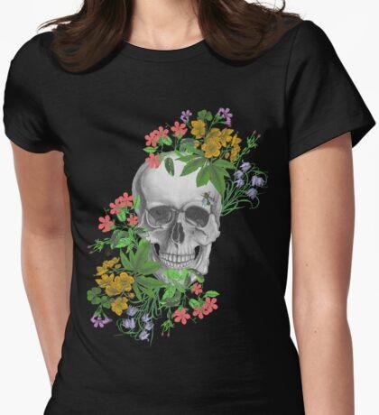 flower skull Womens Fitted T-Shirt