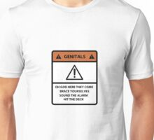 Warning Genitals Unisex T-Shirt