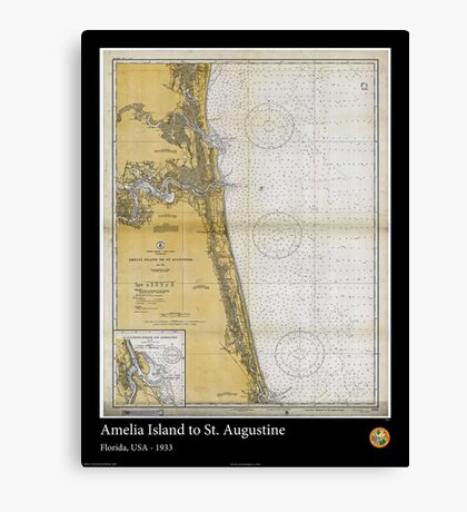Vintage Print of St. Augustine and Amelia Island - 1933 Canvas Print