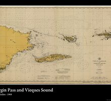 Vintage Print of Virgin Islands Pass - 1908 by aocimages
