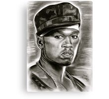 50 cent in black and white Canvas Print