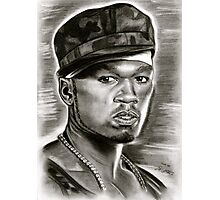50 cent in black and white Photographic Print