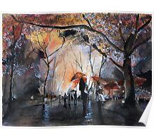 Autumn rain - Watercolor Poster