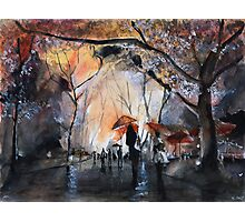 Autumn rain - Watercolor Photographic Print