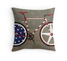 I Love My American  Bike Throw Pillow