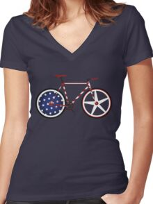 I Love My American  Bike Women's Fitted V-Neck T-Shirt