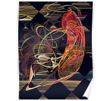 Fractals - Koi in Swirling Water Poster