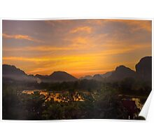 Burning Sky over the Mountains Poster