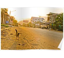 Wandering Chicken on a Dusty Road Poster