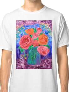 Bouquet of English Roses in Mason Jar Painting Classic T-Shirt