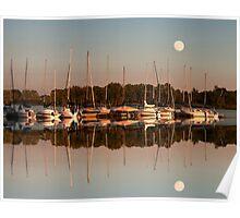 Reflecting sailboats sundown moon Poster