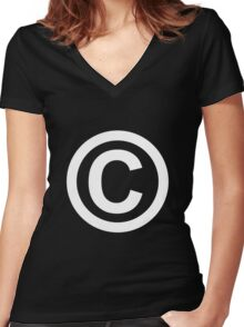 Copyright Protected Women's Fitted V-Neck T-Shirt