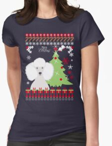 Poodle Ugly Christmas Sweater Womens Fitted T-Shirt