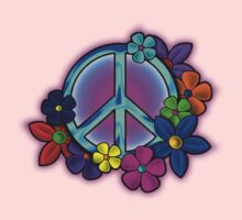 Peace Love and Flowers Tee One Piece - Long Sleeve