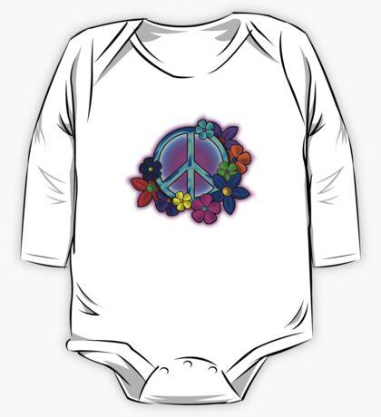 Peace Love and Flowers Tee One Piece - Long Sleeve