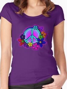 Peace Love and Flowers Tee Women's Fitted Scoop T-Shirt